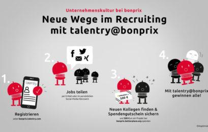 """bonprix setzt auf agiles Recruiting und unterstützt mit dem digitalen Mitarbeiterempfehlungsprogramm """"talentry@bonprix"""" soziale Projekte"""