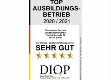 Top Ausbildungsbetrieb (DIQP) für die Dussmann Service GmbH